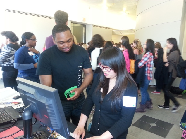 William volunteering at the 2014 Boston S.E.T. In the CIty, encouraging Boston area girls to take on a career path in the STEM Fields