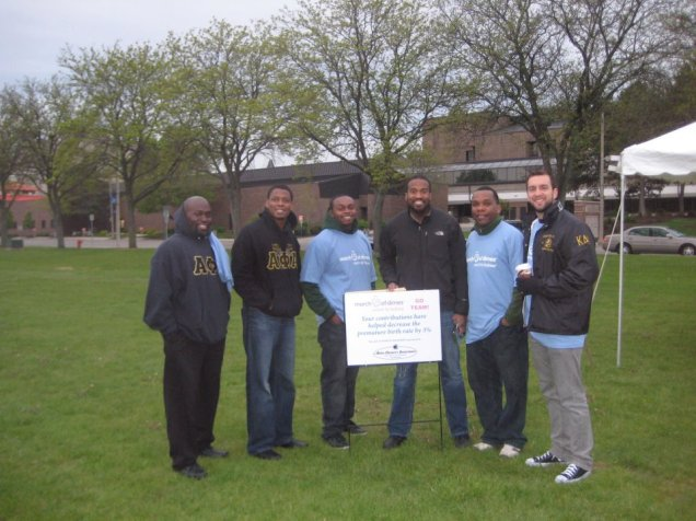 William along with his fellow Brothers of Alpha Phi Alpha Fraternity, Inc. as they participate in the March of Dimes, March for Babies Walk in Lansing, MI.