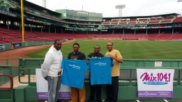William with his fellow Brothers of the Epsilon Gamma Lambda Chapter of Alpha Phi Alpha Fraternity, Inc. at the 2015 March of Dimes - March for Babies Walk at Fenway Park
