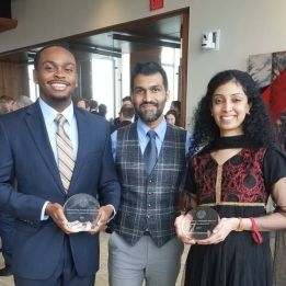 Outstanding Graduate Student Awardees, William (left), and colleague Meenupriya Swaminathan (right), with advisor Dr. Kaushik R. Chowdhury (center).